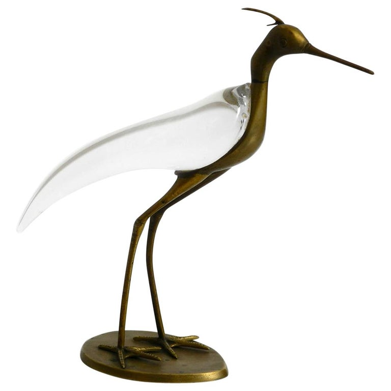 XL Mid Century Modern brass and glass bird heron  Luca Bojola for Licio Zanetti For Sale
