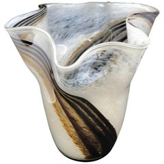 White Brown Gray Swirl Glass Murano Venetian Glass Vase by Fazzoletto