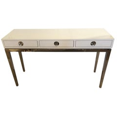Glitzy Jonathan Adler White Lacquer and Chrome Console with 3 Drawers