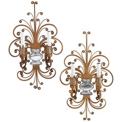 Pair of Italian Baguès Style Gilt Iron and Glass Two-Light Sconces, circa 1950