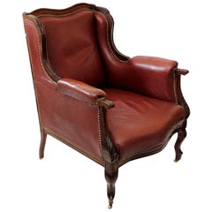 French Louis XV Style Leather Bergere Chair, circa 1860
