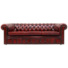 Chesterfield Genuine Leather Sofa Leather Antique Vintage Couch English