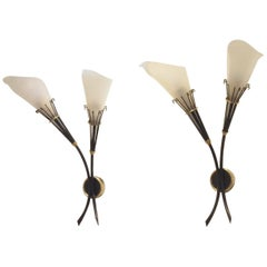 French Midcentury Design, Two Maison Arlus Brass and Plexi Wall Sconces Lamps