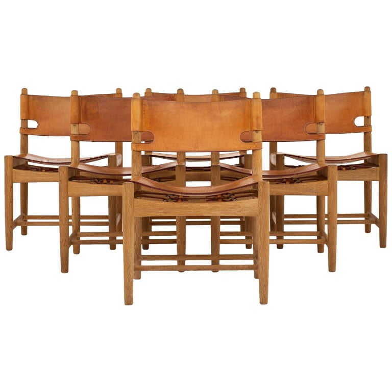 Set of Six Dining Chairs by Børge Mogensen For Sale