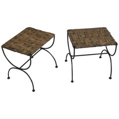Pair of French Mid-Century Modern Iron & Rope Stools/Benches, Jean Michel Frank