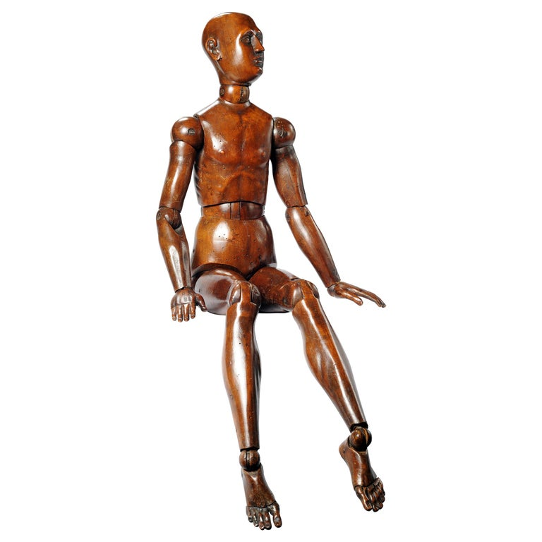 19th Century French or Italian Wood Mannequin, circa 1850 For Sale