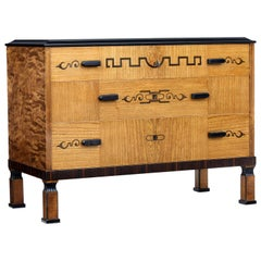 Late Art Deco Elm and Birch Inlaid Chest of Drawers
