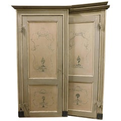 N.4 Antiques Lacquered Wooden Doors with Decorations, 1700, Italy, Beige/Grey