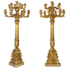 19th Century Pair of French or Russian Gilt Bronze Candelabra, circa 1830