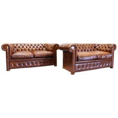 2 Chesterfield Sofa Leather Antique Vintage Couch English Chippendal