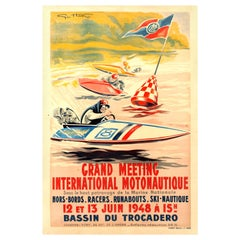 Original Vintage Water Sport Poster for Grand Meeting International Motonautique