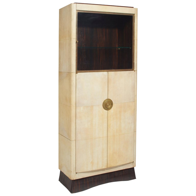 Dominique, Cabinet, Sheathed with Natural Varnished Parchment, 1938 For Sale