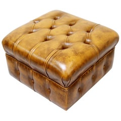 Chesterfield Stool Antique Chair Club Leather Couch Vintage