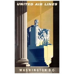 Original Vintage Travel Poster United Air Lines Washington D.C. Lincoln Memorial