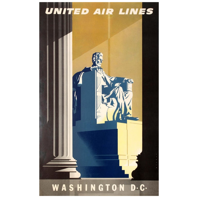 Original Vintage Travel Poster United Air Lines Washington D.C. Lincoln Memorial For Sale