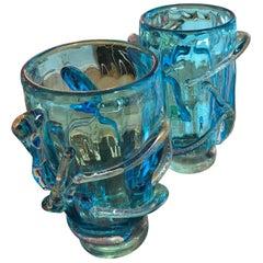 "Pair of Vases in Murano Glass Signed ""Costantini Murano"""