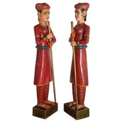 Life-Sized Pair of Indian Figures in Vibrantly Painted Wood