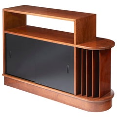 Eugène Printz, Bookcase in Solid Walnut and Black Opal Glass, circa 1935