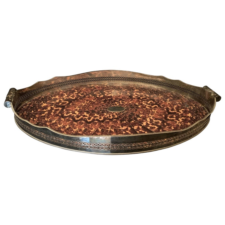 Wonderful Faux Tortoiseshell Silver Plated Oval Pierced Handle Gallery Big Tray For Sale