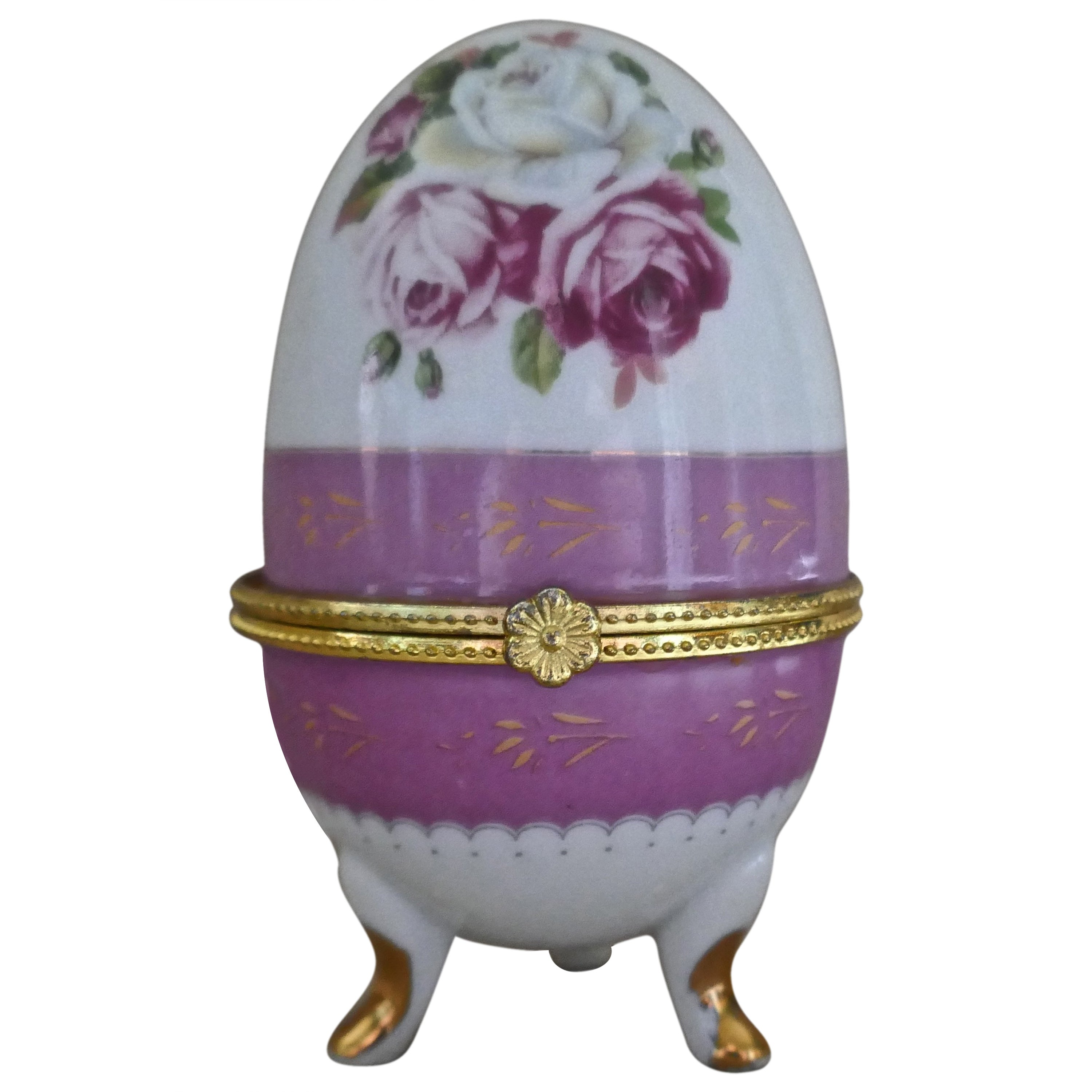 Vintage Rose Chintz Egg Shaped Ceramic Trinket Box with Hinged Lid