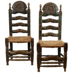 18th Century Castille Region Spanish Carved Side Chairs, with Rush Seating