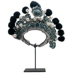 Antique Chinese Theatre Opera Headdress, Turquoise/Silver, Black Pom-Poms