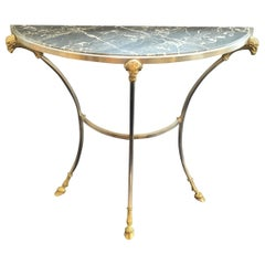 Wonderful Jansen Demilune Marble Top Ormolu Brushed Nickel Console Tables, Pair