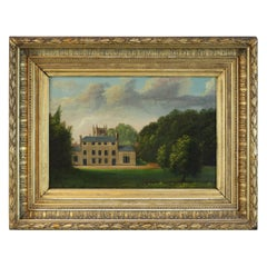 19th Century English Oil Painting on Tin - Georgian Rectory in Original Frame