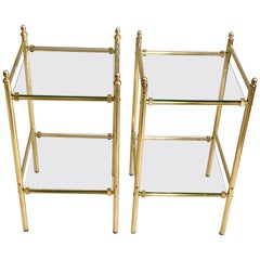 Pair of French Modern Neoclassical Double Level Brass Side Tables, Maison Jansen