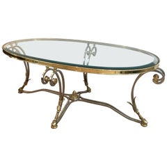 Neoclassical Style Brushed Steel and Brass Coffee Table