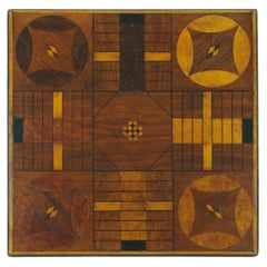 Inlaid Parcheesi Board Mounted as a Side Table, 19th Century
