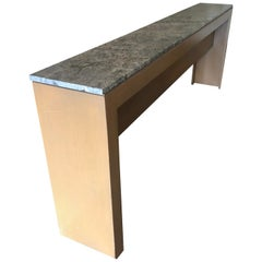 Extremely Long and Narrow Custom Sleek Modern Birch and Marble Console Table