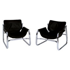 Pair of Black Leather Alpha Sling Chairs by Maurice Burke for Pozza Brazil 1960s