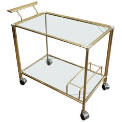 Gold Gilt Brass and Silver Plated Trolley, French, circa 1970
