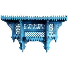Moroccan Blue Wooden Wall Shelf