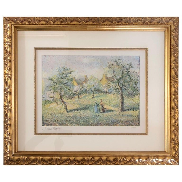 Lovely Framed Trees in Bloom Aquatint Signed by H Claude Pissarro