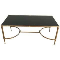 Attributed to Maison Jansen, Neoclassical Brass Coffee Table with Finials