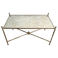 In the Style of Maison Bagués, Faux-Bamboo Bronze and Brass Coffee Table