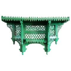 Moroccan Green Wooden Wall Shelf