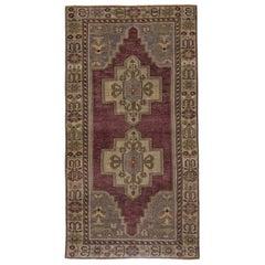 Brown, Purple and Green Handmade Wool Turkish Old Anatolian Konya Rug Small Size