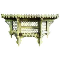 Moroccan Yellow Wooden Wall Shelf