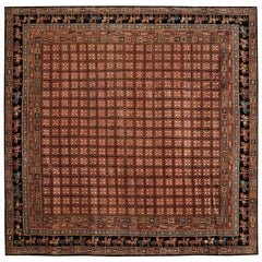 Red and Navy Contemporary Handmade Wool Turkish Oushak Rug Square