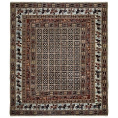 Red and Blue Contemporary Handmade Wool Turkish Oushak Rug