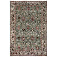Green and Ivory Contemporary Handmade Wool Turkish Oushak Rug