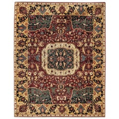 Red and Gold Contemporary Handmade Wool Turkish Oushak Rug