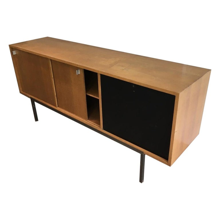 Sideboard with Two Sliding Doors and a Bar and a Metal Base, circa 1950 For Sale
