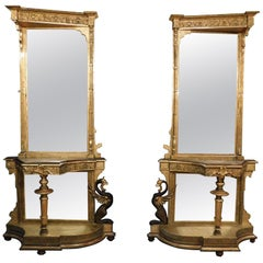 Antique Pair of Console Tables with Gothic Neogothic Mirror, Gold Wood Dragons