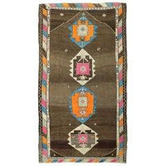 Brown, Pink and Green Handmade Wool Turkish Old Anatolian Konya Rug