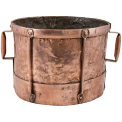 Late 19th Century French Copper Grain Measure or Cachepot, Planter with Handles