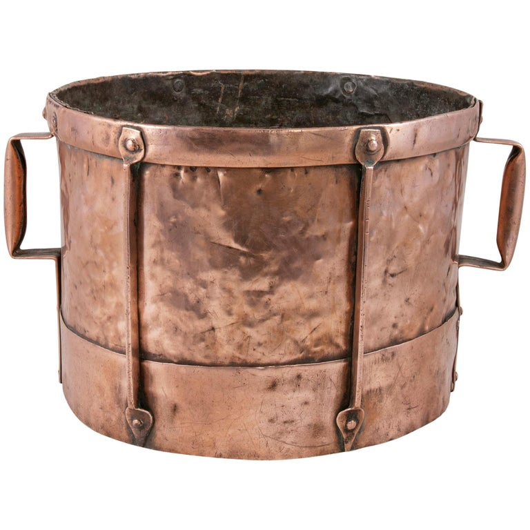 Late 19th Century French Copper Grain Measure or Cachepot, Planter with Handles For Sale